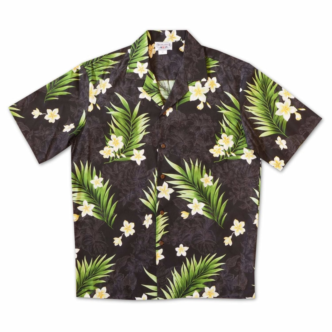 koko head black hawaiian cotton shirt | hawaiian shirt men