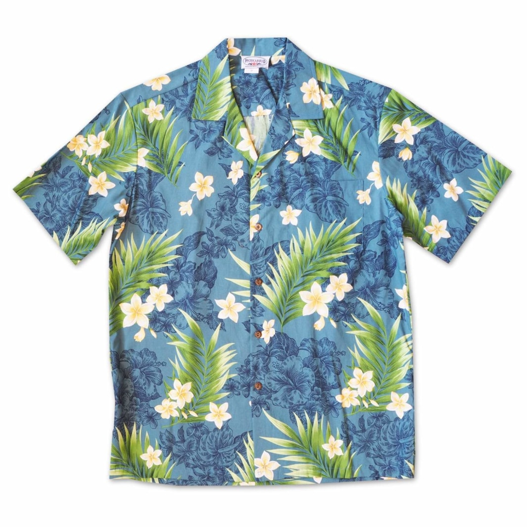 koko head blue hawaiian cotton shirt | hawaiian shirt men