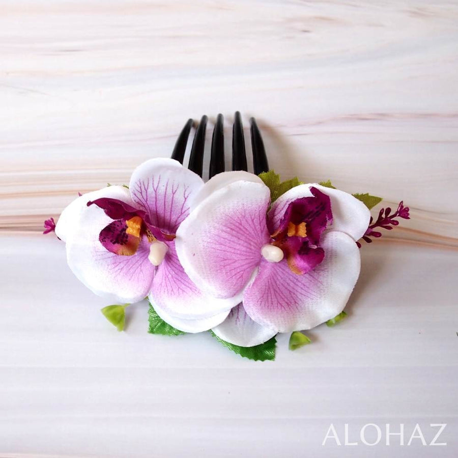 Lilac / White Orchid Joy Hawaiian Hair Comb | Hair Accessories