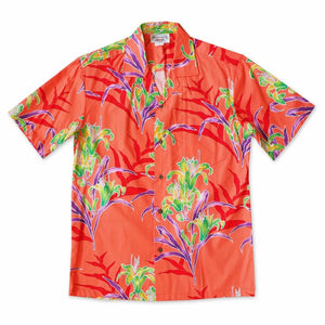 lollipop lily orange hawaiian cotton shirt | hawaiian shirt men