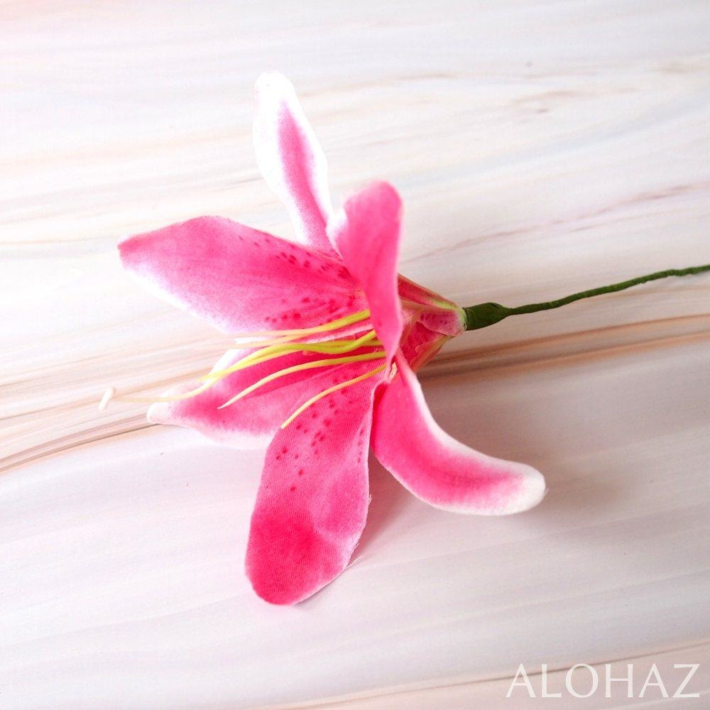 Magenta Pink Lily Hawaiian Flower Stick | Hair Accessories