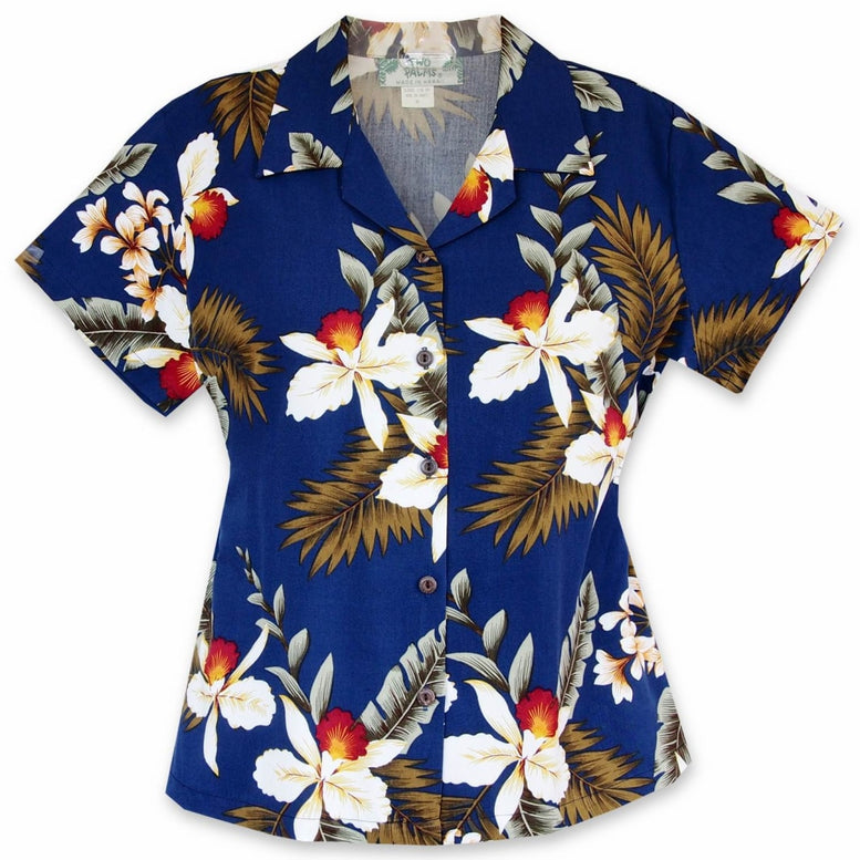 majestic blue hawaiian lady blouse | women blouse hawaiian