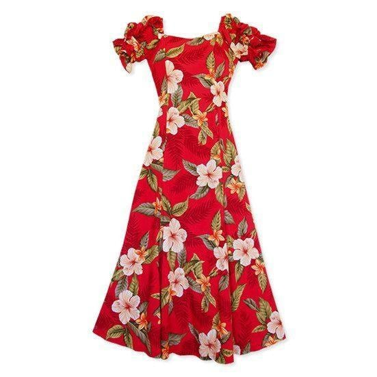 makaha red hawaiian aikane dress | long dress hawaiian