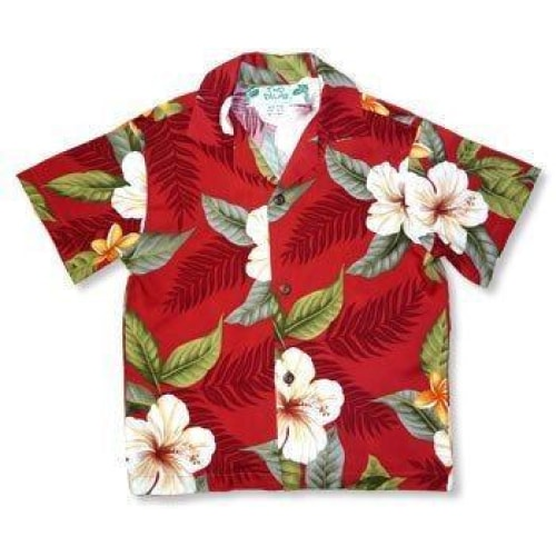 makaha red hawaiian boy shirt | hawaiian boy teen shirt