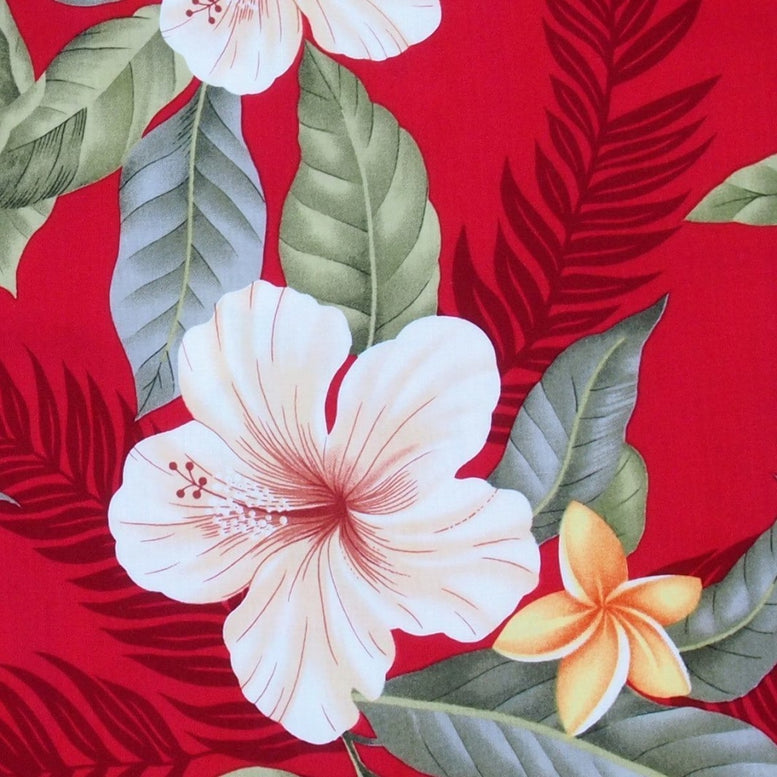 makaha red hawaiian fabric | hawaiian fabric rayon