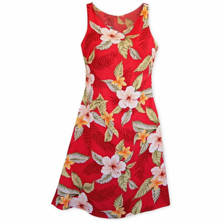 makaha red hawaiian fiesta dress | short dress hawaiian