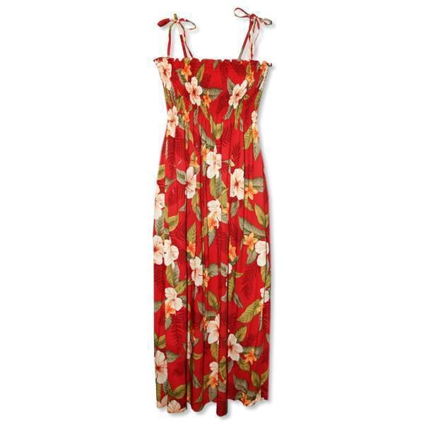 makaha red hawaiian maxi dress | long dress hawaiian