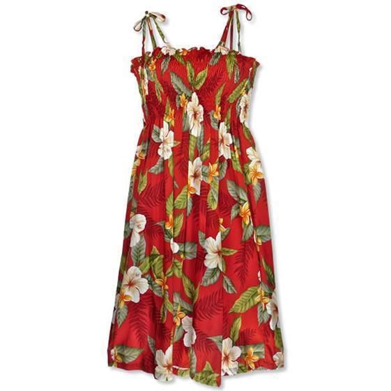 makaha red hawaiian moonkiss dress | short dress hawaiian