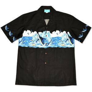 marlin black hawaiian border shirt | hawaiian border shirt