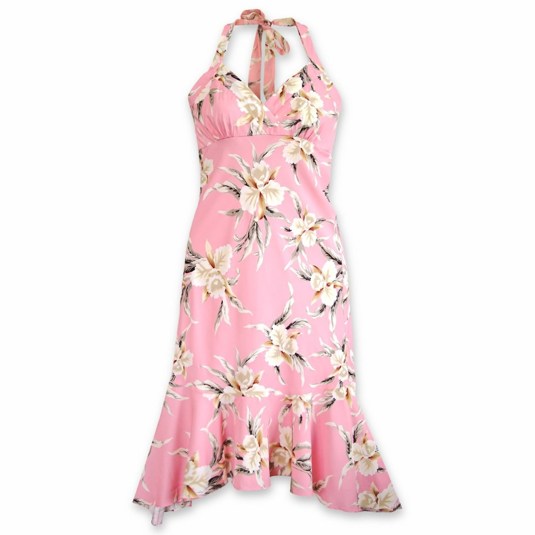 mele pink hawaiian akua dress | hawaiian dress midi midlength