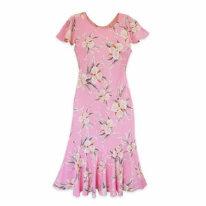 mele pink hawaiian malia dress | hawaiian dress midi midlength