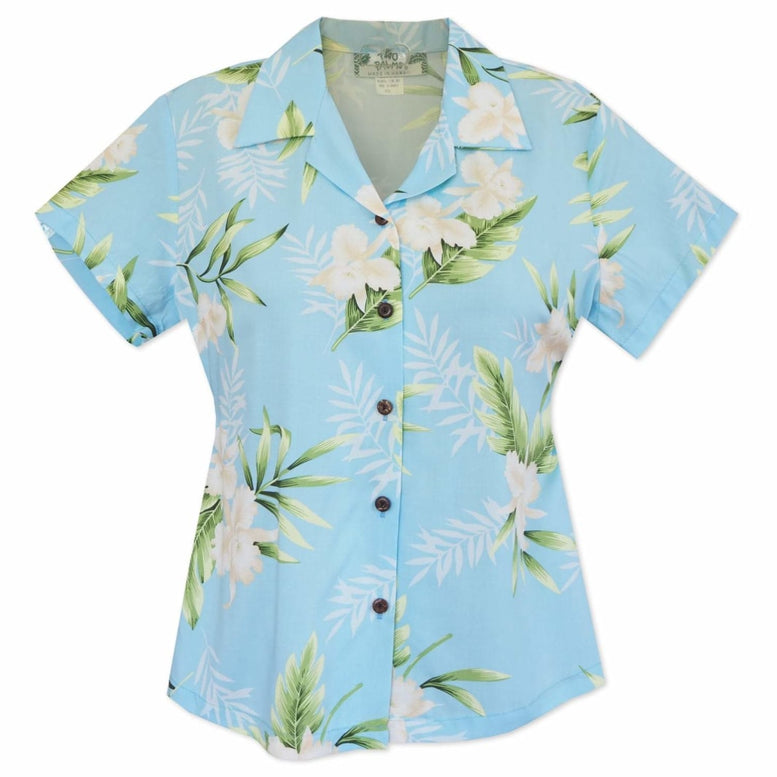 midnight baby blue hawaiian lady blouse | women blouse hawaiian