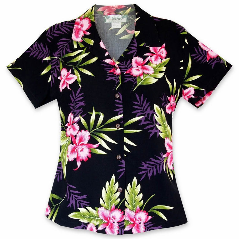 midnight black hawaiian lady blouse | women blouse hawaiian