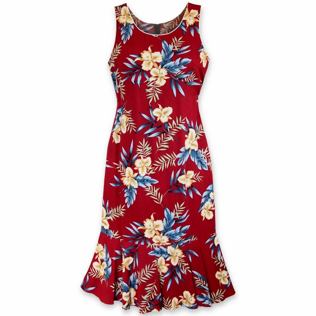 midnight maroon hawaiian hana aloha dress | hawaiian dress midi midlength