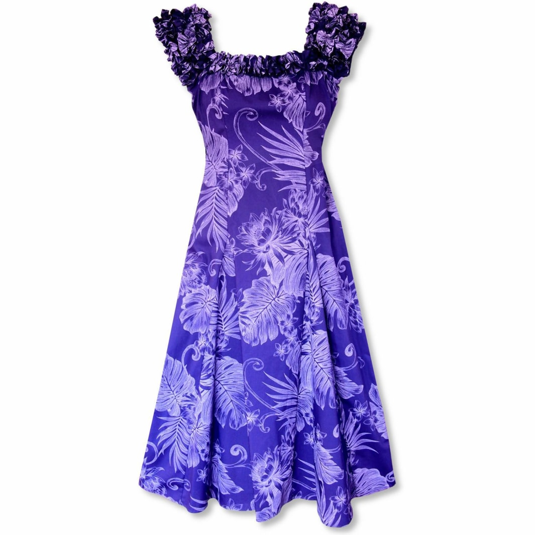 monstera cereus purple hawaiian leilani dress | long dress hawaiian