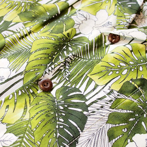 monstera green hawaiian cotton shirt | hawaiian shirt men
