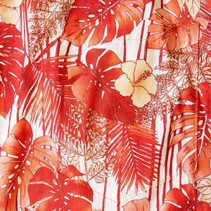 monstera orange hawaiian cotton shirt | hawaiian shirt men