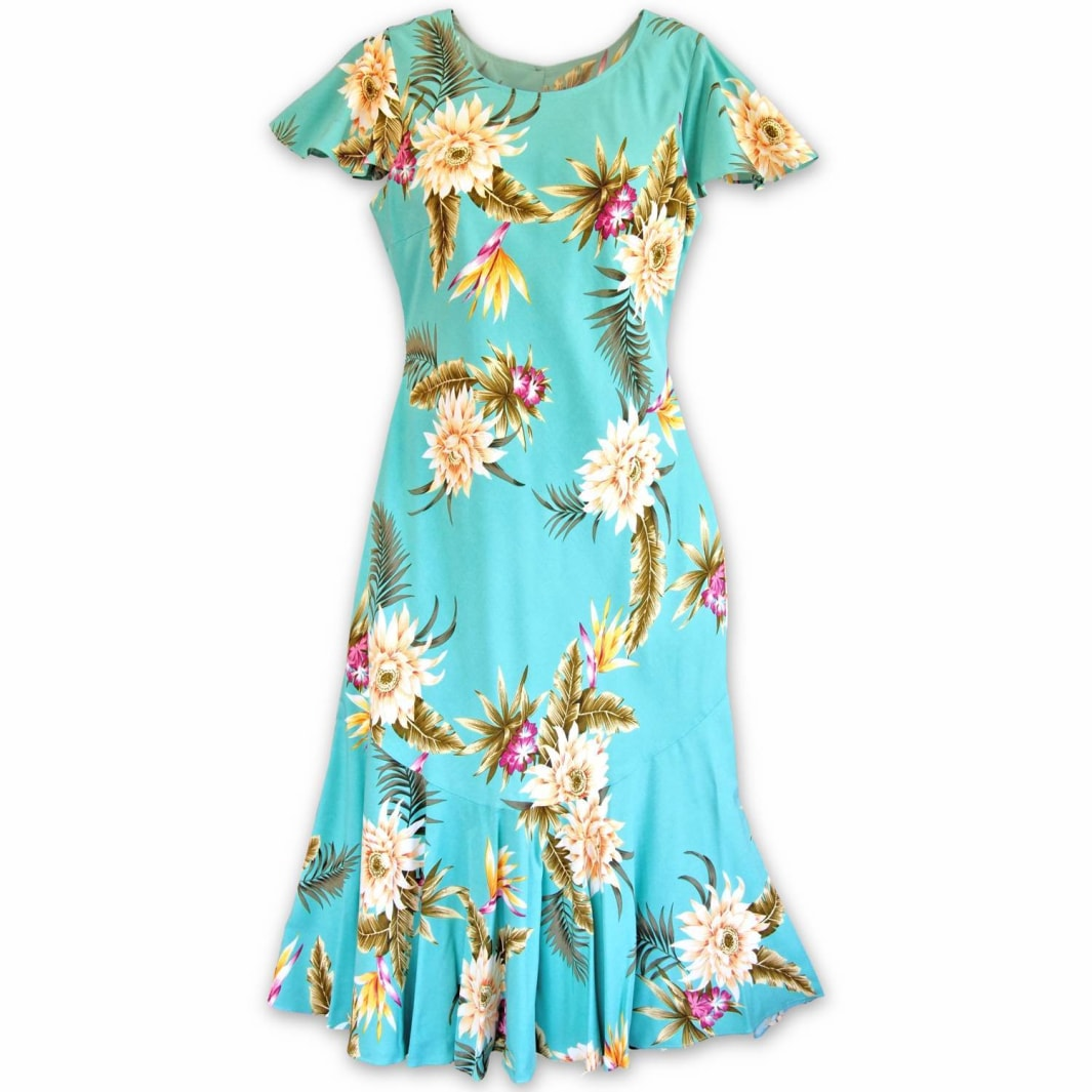 mountain green hawaiian malia dress | hawaiian dress midi midlength