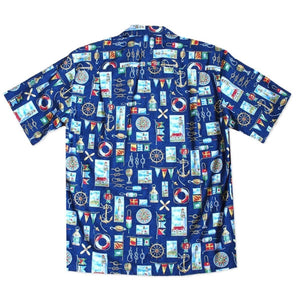 nautical blue hawaiian cotton shirt | hawaiian shirt men