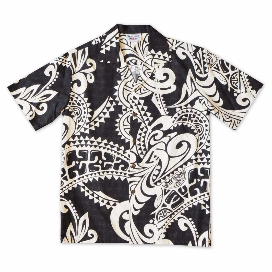 olukai black hawaiian cotton shirt | hawaiian shirt men