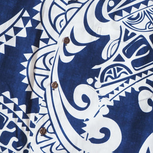 olukai blue hawaiian cotton shirt | hawaiian shirt men