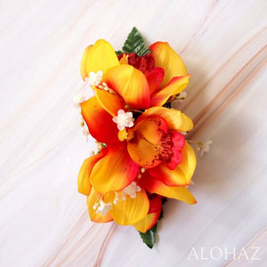 Orange Cymbidium Dream Hawaiian Flower Hair Clip | Hair Accessories