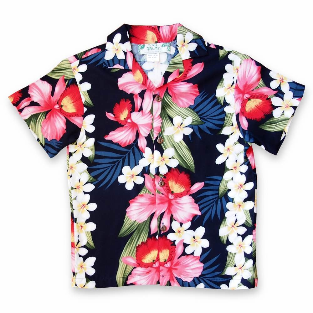 orchid play blue hawaiian boy shirt | hawaiian boy teen shirt