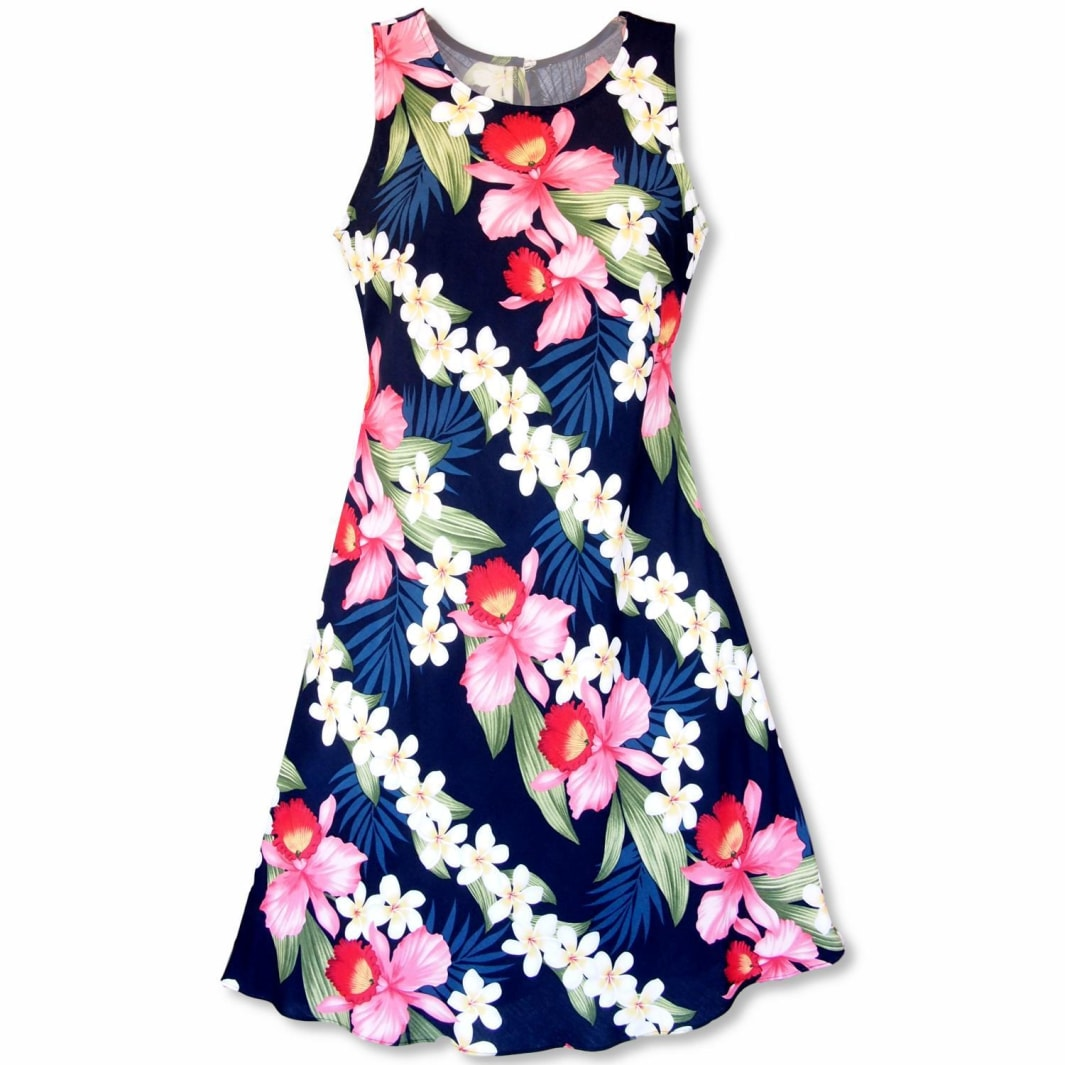 orchid play blue hawaiian rhythm short dress | short dress hawaiian