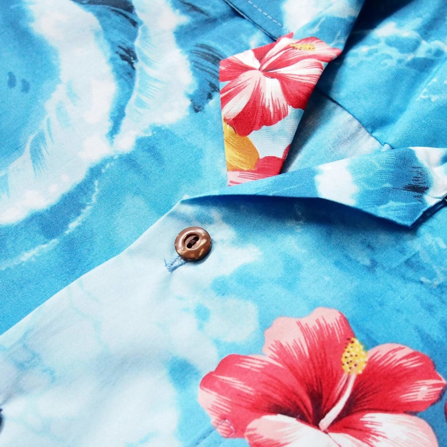 pacific ocean blue hawaiian cotton shirt | hawaiian shirt men