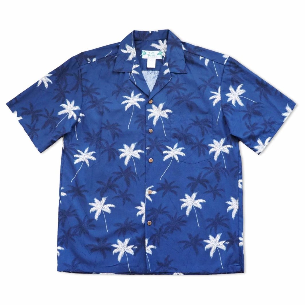palm beach blue hawaiian cotton shirt | hawaiian shirt men