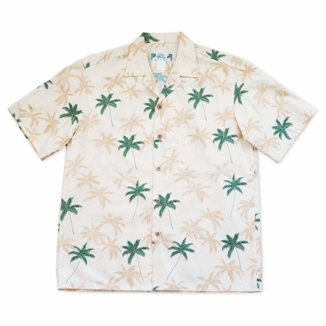 palm beach cream hawaiian cotton shirt | hawaiian shirt men