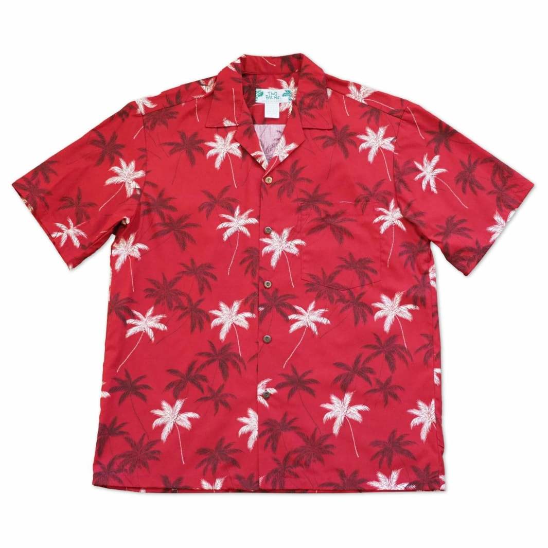 palm beach red hawaiian cotton shirt | hawaiian shirt men