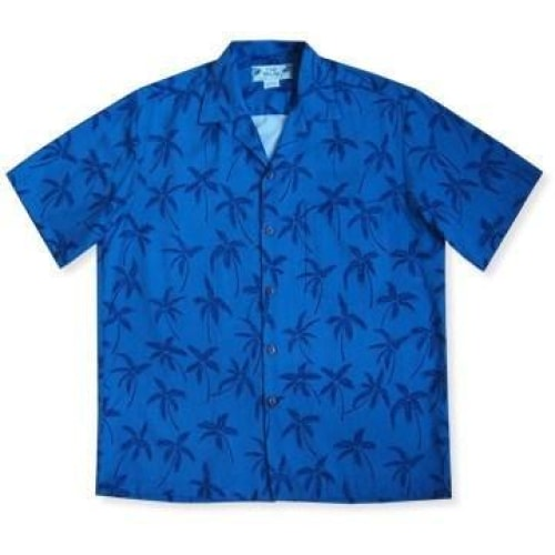 palm breeze blue hawaiian rayon shirt | hawaiian men shirt