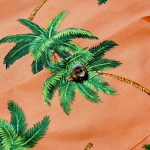 palm dance orange hawaiian cotton shirt | hawaiian shirt men