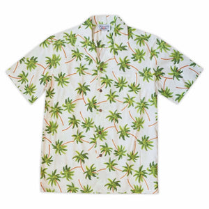palm dance white hawaiian cotton shirt | hawaiian shirt men