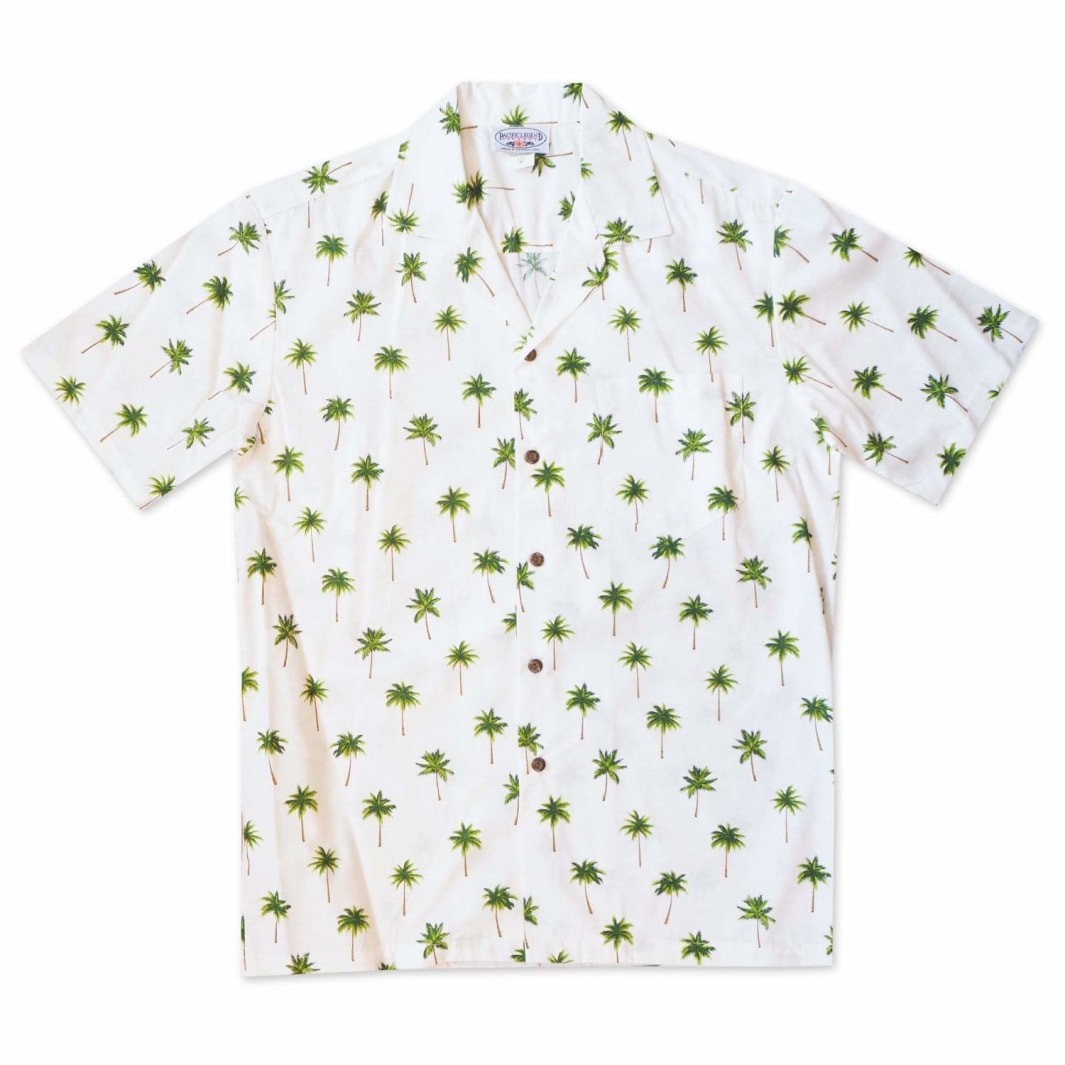 palm haven green hawaiian cotton shirt | hawaiian shirt men