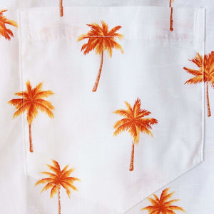 palm haven orange hawaiian cotton shirt | hawaiian shirt men