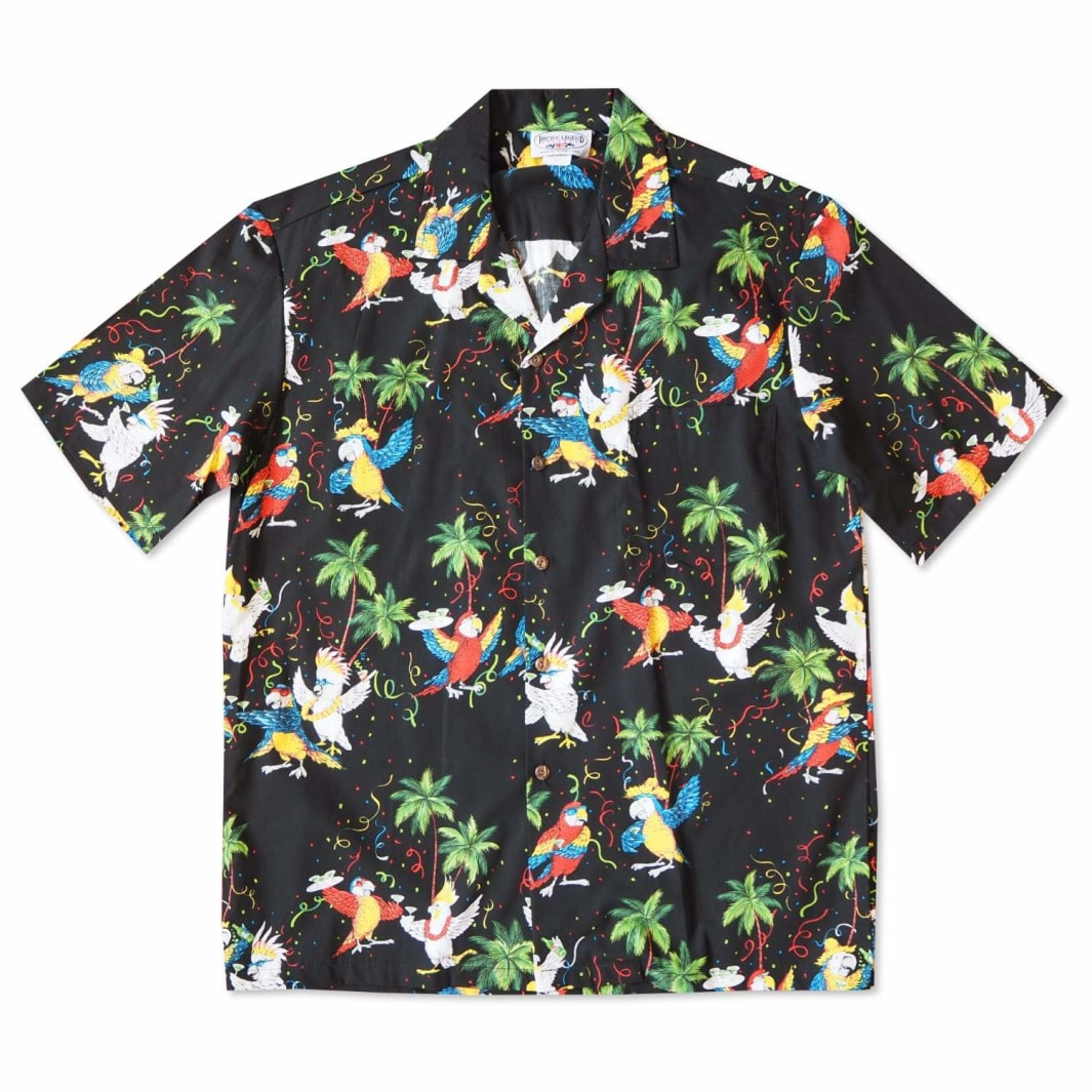 party birds black hawaiian cotton shirt | hawaiian shirt men