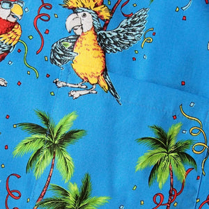 party birds blue hawaiian cotton shirt | hawaiian shirt men