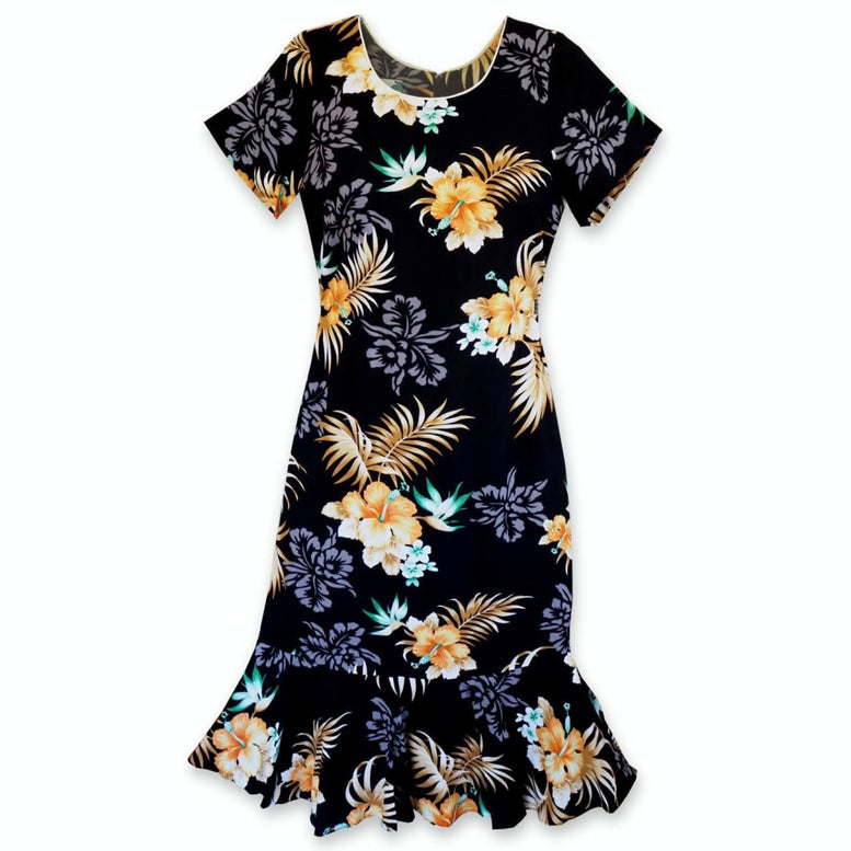 passion black hawaiian laka dress | hawaiian dress midi midlength