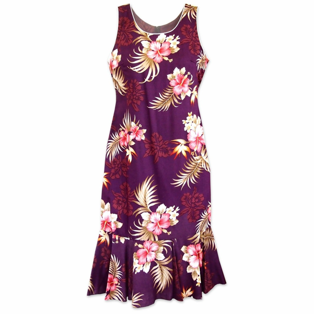 passion purple hawaiian hana aloha dress | hawaiian dress midi midlength