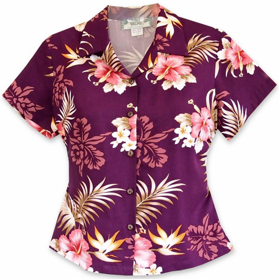 passion purple hawaiian lady blouse | women blouse hawaiian