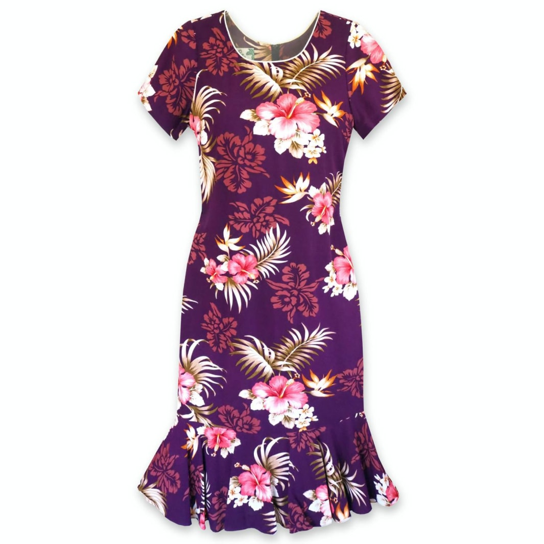passion purple hawaiian laka dress | hawaiian dress midi midlength