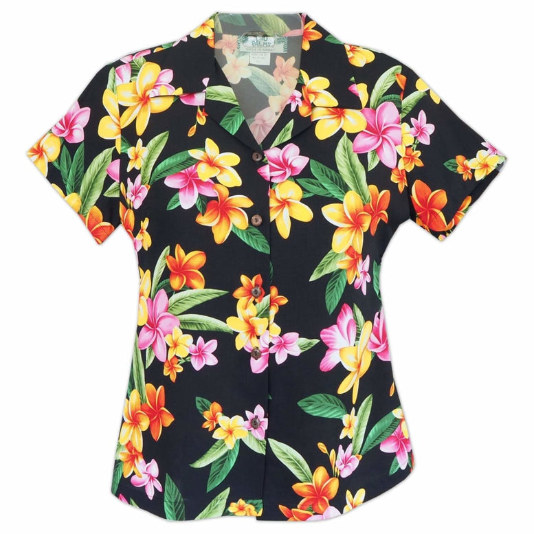 pebble black hawaiian lady blouse | women blouse hawaiian