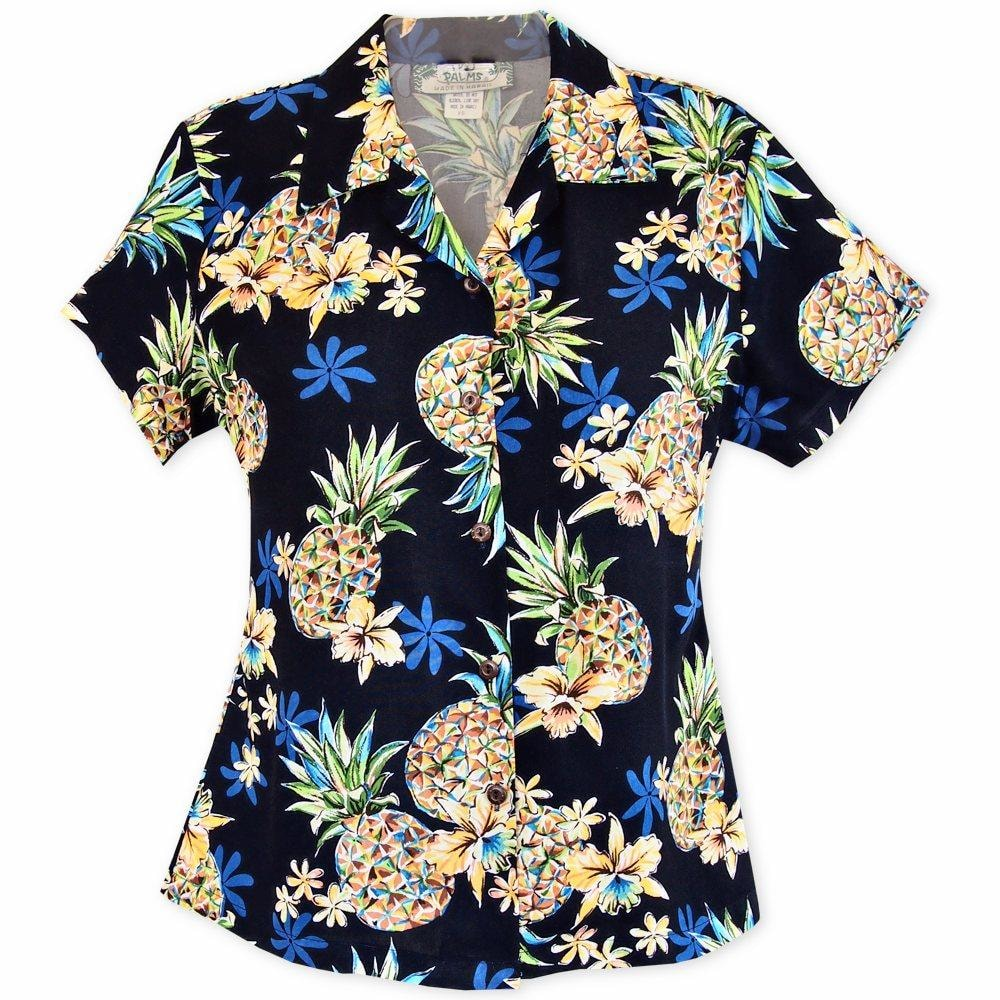 pineapple blue hawaiian lady blouse | women blouse hawaiian