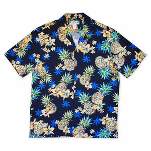 pineapple blue hawaiian rayon shirt | hawaiian men shirt
