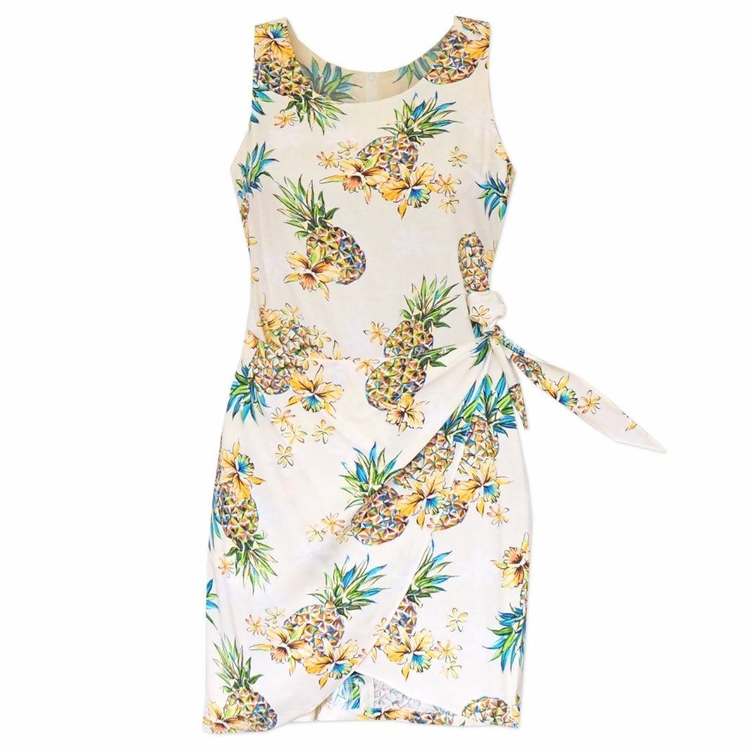 pineapple cream hawaiian honi sarong dress | short dress hawaiian