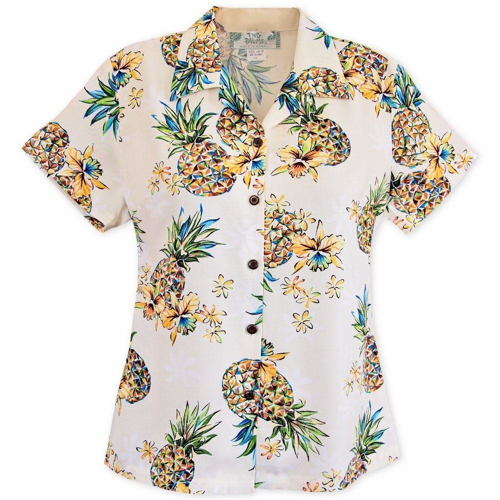 pineapple cream hawaiian lady blouse | women blouse hawaiian