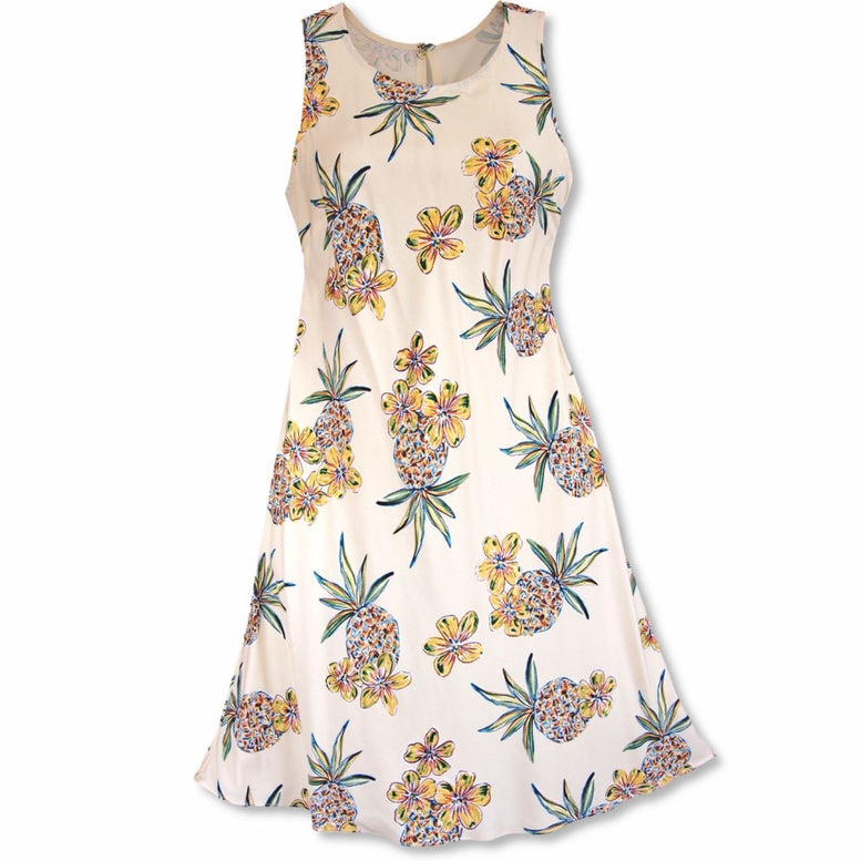 pineapple cream hawaiian rhythm short dress | short dress hawaiian
