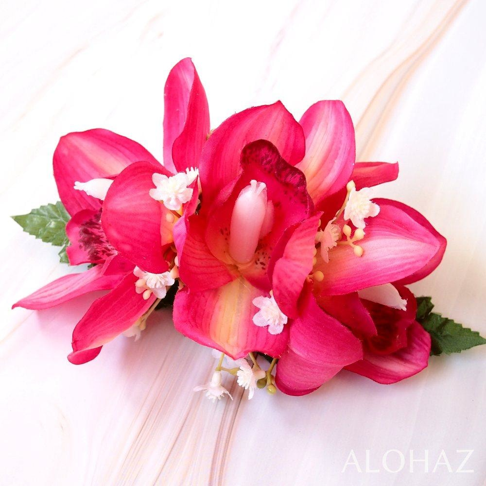 Pink Cymbidium Dream Hawaiian Flower Hair Clip | Hair Accessories